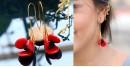 Flora ⚹ Glass Jewellery ⚹ Poppy Flower ( Earring ) ~ 14