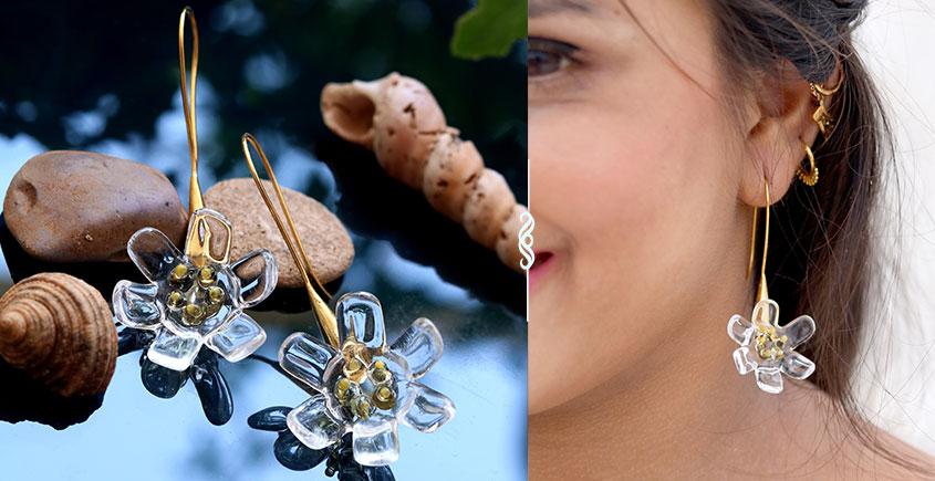 Flora ⚹ Glass Jewellery ⚹ Skeleton Flower ( Earring ) ~ 11