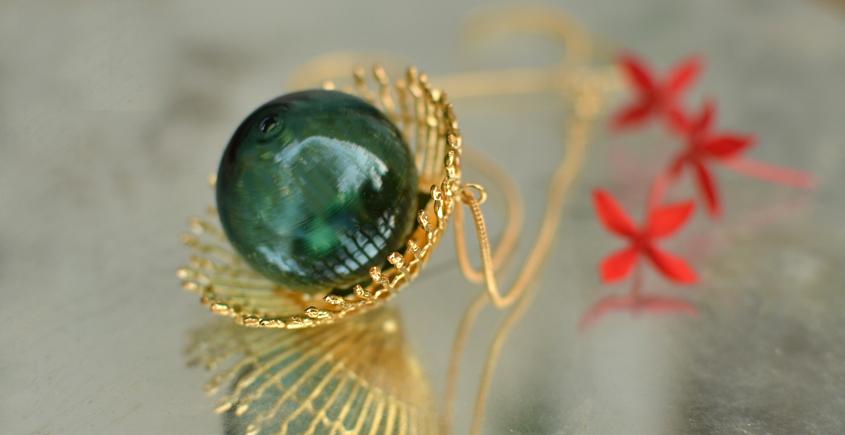 Bihag . Glass Jewellery ☼  Weave Of Nature Pendant ( Teal ) ~ 24