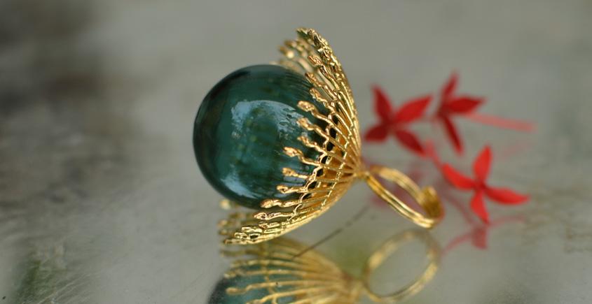 Bihag . Glass Jewellery ☼  Weave Of Nature Ring ( Teal ) ~ 31