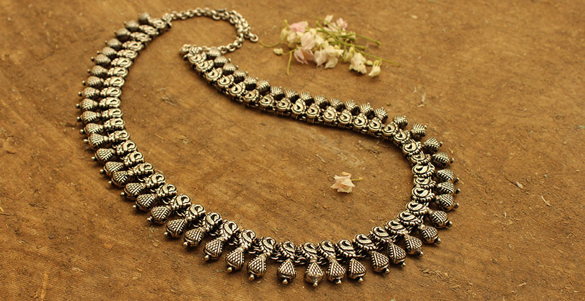 Khwab ✽ Antique Finish White Metal ✽ Necklace { 9 }