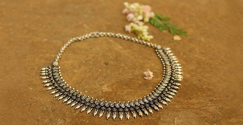 Khwab ✽ Antique Finish White Metal ✽ Necklace { 11 }