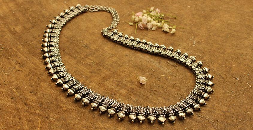 Khwab ✽ Antique Finish White Metal ✽ Necklace { 28 }
