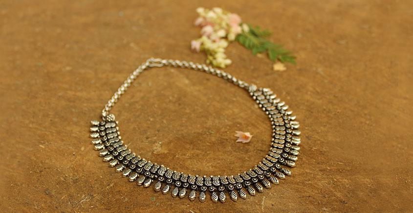 Khwab ✽ Antique Finish White Metal ✽ Necklace { 14 }