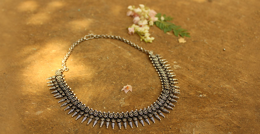 Khwab ✽ Antique Finish White Metal ✽ Necklace { 23 }