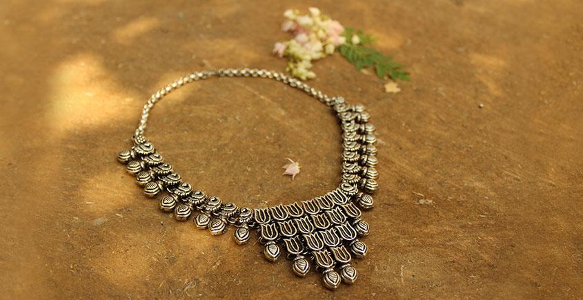 Khwab ✽ Antique Finish White Metal ✽ Necklace { 26 }