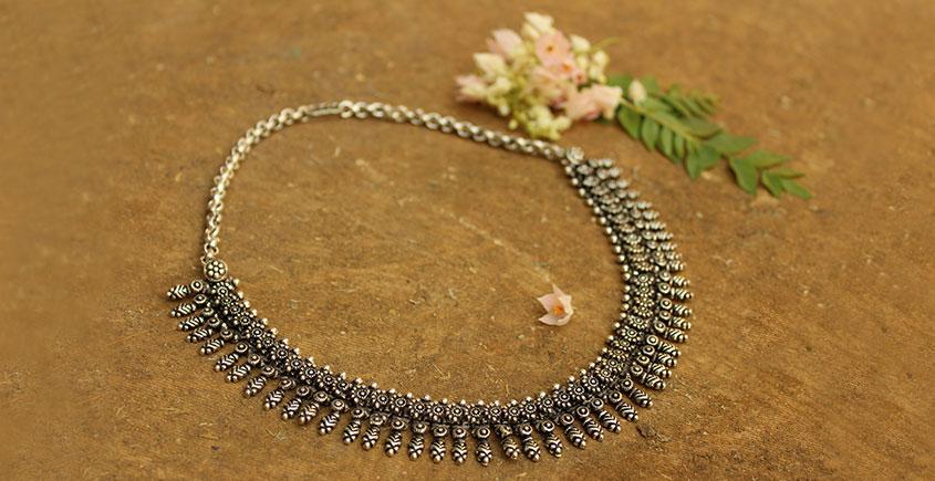 Khwab ✽ Antique Finish White Metal ✽ Necklace { 6 }
