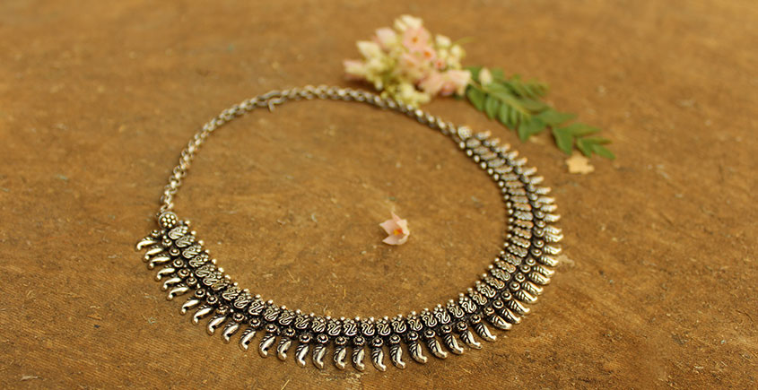 Khwab ✽ Antique Finish White Metal ✽ Necklace { 7 }
