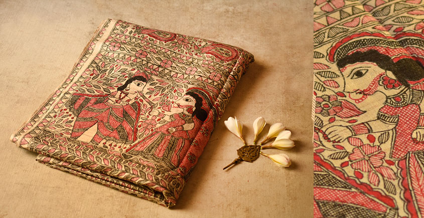 Dream Girl ❁ Tussar Silk . Madhubani Saree ❁ 3