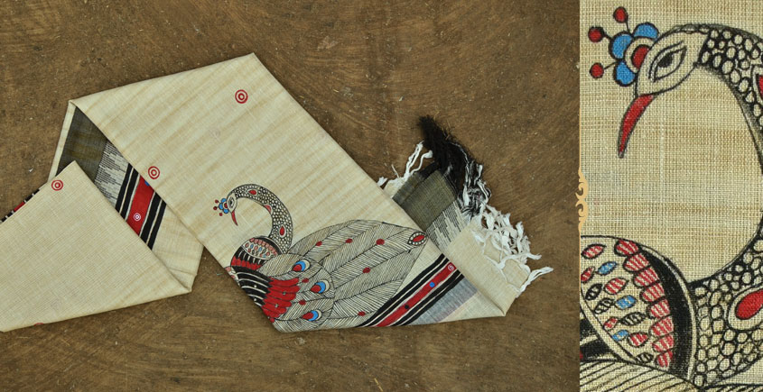 Urmika ❁ Cotton Silk . Madhubani Dupatta ❁ 14