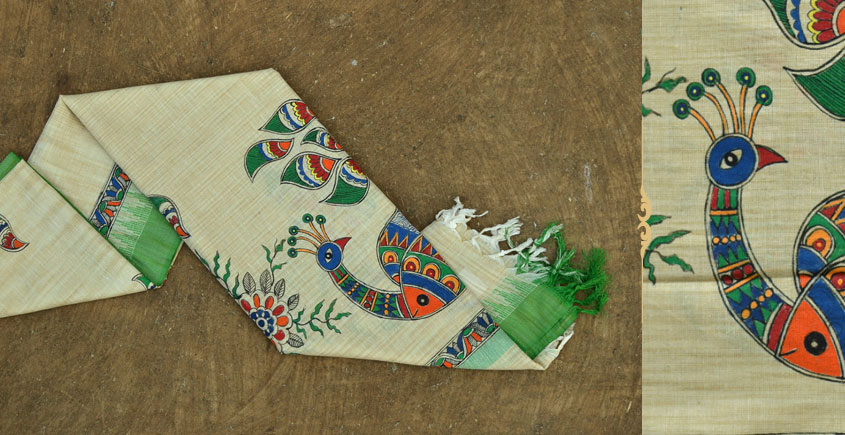 Urmika ❁ Cotton Silk . Madhubani Dupatta ❁ 5