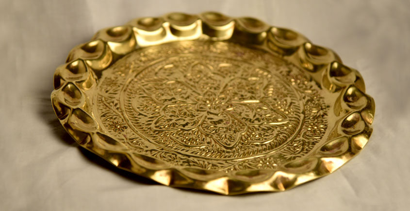 अर्चना ❋  Brass . Hand Carving Puja Thali ❋ 36