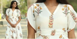 Albeli ♠ Hand block printed ♠ Mughal print off white dress ♠ 1