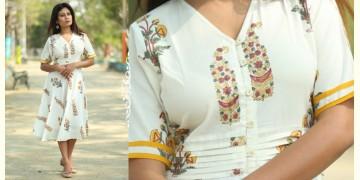 Albeli ♠ Hand block printed ♠ Mughal print off white flare dress ♠ 6