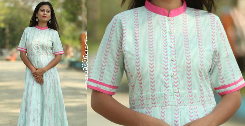 Albeli ♠ Hand block printed ♠ Geometrical pistachio panel dress ♠ 7