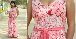 Albeli ♠ Hand block printed ♠ Floral pink long flare dress ♠ 9