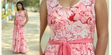 Albeli ♠ Hand block printed ♠ Floral pink long flare dress ♠ 9