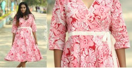 Albeli ♠ Hand block printed ♠ Floral pink angarkha dress ♠ 10