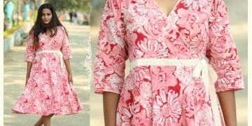 Albeli ♠ Hand block printed ♠ Floral pink angarkha dress ♠ 10