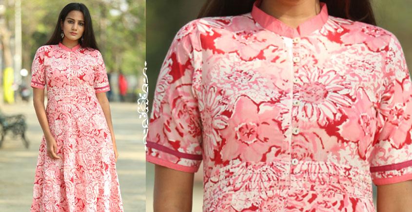 Albeli ♠ Hand block printed ♠ Floral pink panel dress ♠ 12