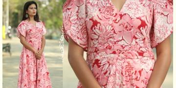 Albeli ♠ Hand block printed ♠ Floral pink flare dress ♠ 13