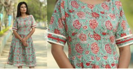 Albeli ♠ Hand block printed ♠ Floral print ocean green pleated dress ♠ 14