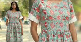 Albeli ♠ Hand block printed ♠ Floral print ocean green gathered dress ♠ 15