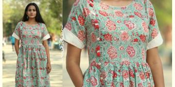 Albeli ♠ Hand block printed ♠ Floral print ocean green gathered dress ♠ 15