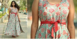 Albeli ♠ Hand block printed ♠ Floral ocean green flare dress ♠ 16