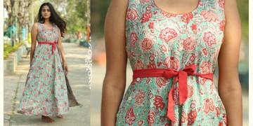 Albeli ♠ Hand block printed ♠ Floral ocean green flare dress ♠ 16