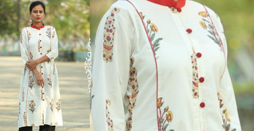Albeli ♠ Hand block printed ♠ Mughal Print off white stand collar kurti ♠ 17