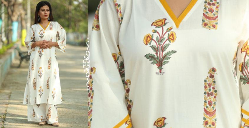 Albeli ♠ Hand block printed ♠ Mughal Print off white v neck kurti ♠ 18