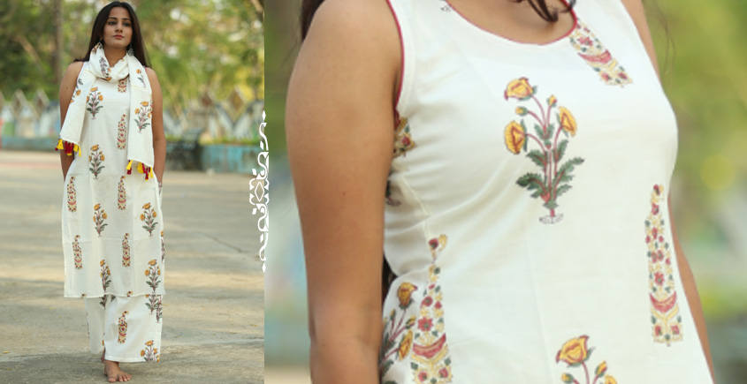 Albeli ♠ Hand block printed ♠ Mughal Print off white sleeveless straight fit kurti ♠ 19
