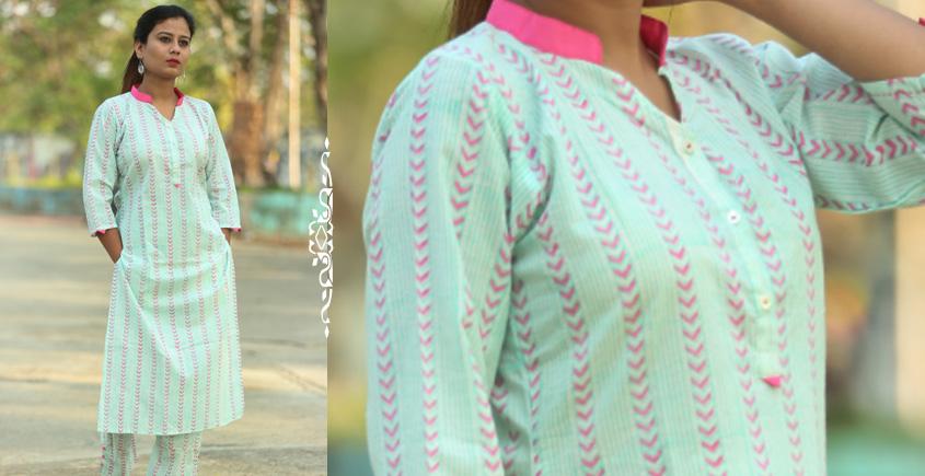 Albeli ♠ Hand block printed ♠ Geometrical pistachio stand collar kurti ♠ 21