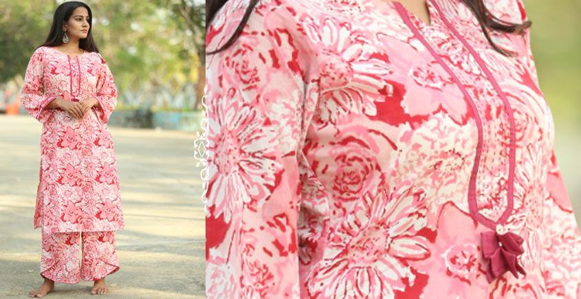 Albeli ♠ Hand block printed ♠ Floral pink bell sleeve kurti ♠ 22