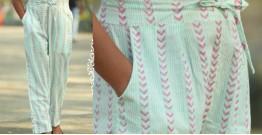 Albeli ♠ Hand block printed ♠ Geometrical pistachio pajama ♠ 3