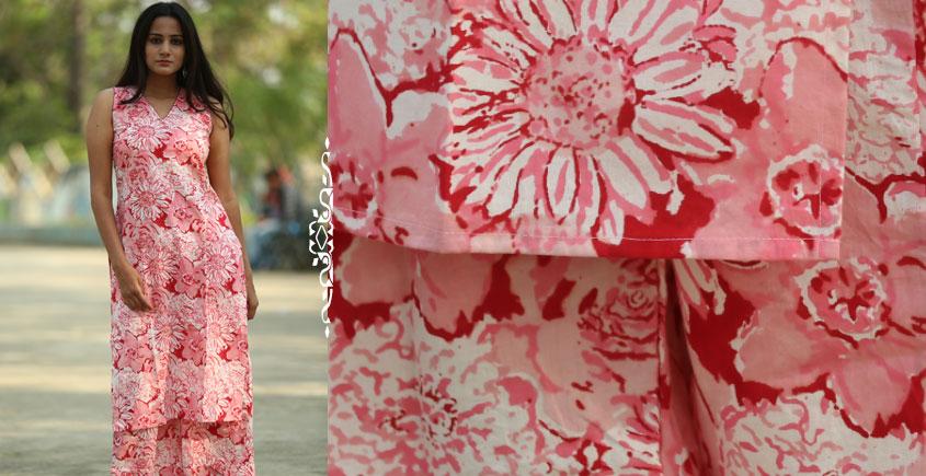 Albeli ♠ Hand block printed ♠ Floral pink sleeveless kurti ♠ 23