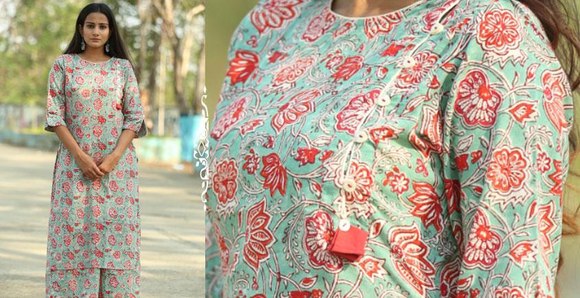 Albeli ♠ Hand block printed ♠ Floral print ocean green side buttoned kurti ♠ 26
