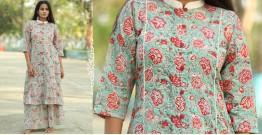 Albeli ♠ Hand block printed ♠ Floral print ocean green stand collar kurti ♠ 27