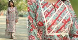 Albeli ♠ Hand block printed ♠ Floral print ocean green kurti ♠ 28
