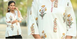 Albeli ♠ Hand block printed ♠ Mughal print off white top ♠ 30
