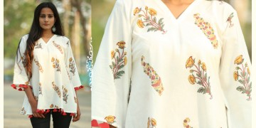 Albeli ♠ Hand block printed ♠ Mughal print off white flare top ♠ 31