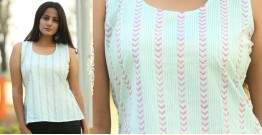 Albeli ♠ Hand block printed ♠ Geometrical pistachio sleeveless top ♠ 32