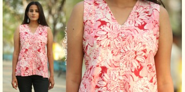 Albeli ♠ Hand block printed ♠ Floral pink v neck top ♠ 34