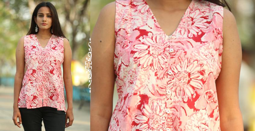 Albeli ♠ Hand block printed ♠ Floral pink v neck top ♠ 34