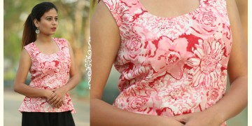 Albeli ♠ Hand block printed ♠ Floral pink sleeveless top ♠ 35