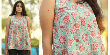 Albeli ♠ Hand block printed ♠ Floral print ocean green sleeveless top ♠ 36