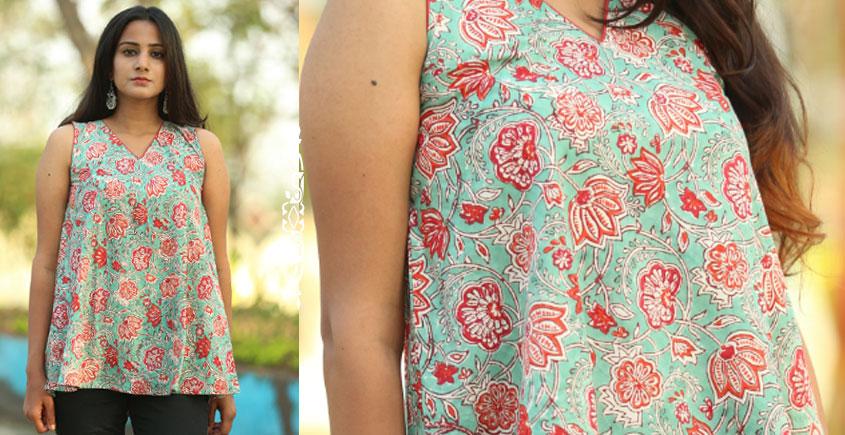 Albeli ♠ Hand block printed ♠ Floral print ocean green sleeveless top ♠ 36