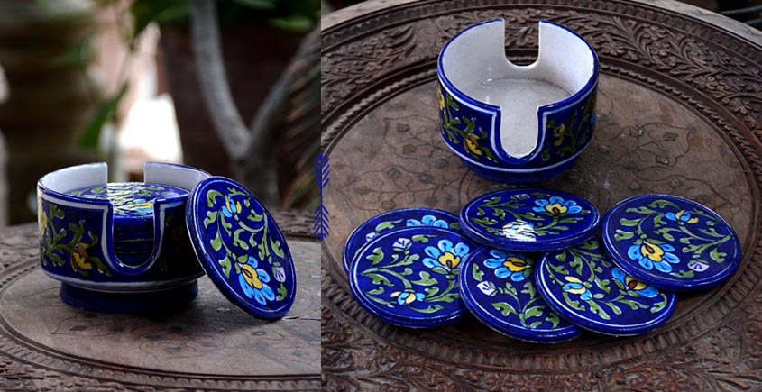 Azur ᴥ Blue Pottery Coaster Set ᴥ 27