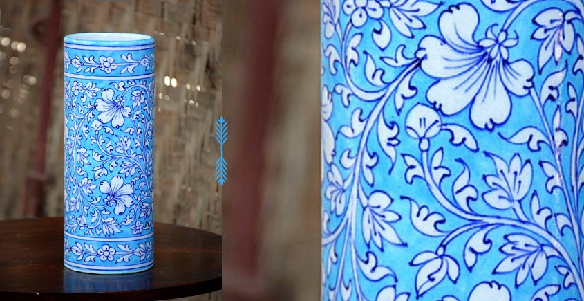 Azur ᴥ Blue Pottery Cylinder Vase ᴥ 32